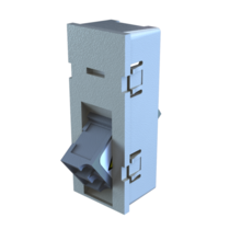 TracJack Module, Keyed Front Non-Keyed Rear LC Duplex  Multimode Adapters, 45 Degree Angled Exit, Gray
