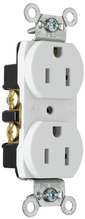 Construction Spec Grade Smooth Face Receptacles, Back & Side Wire, 15A, 125V, White