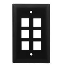 1-Gang, 6-Port Wall Plate, Black