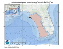 This is a map of seasonal prohibitions applicable to bottom longline reef fishery management area in the Gulf of Mexico.