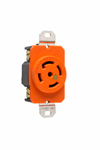 30 Amp NEMA L2330 Single Receptacle, Orange, Isolated Ground