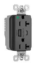 PlugTail® Hospital Grade 20A USB Charging Receptacles, Black