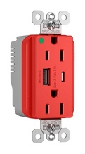 PlugTail® Hospital Grade 15A USB Charging Receptacles, Red