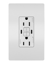 radiant 15A Tamper Resistant Outdoor Self Test GFCI USB Type CC Outlet  White