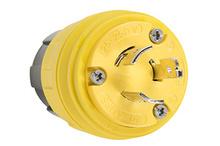 26W08 Watertight NEMA 4X/6P Locking Plug,Yellow