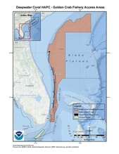 This is a map of golden crab fishery access areas in the deepwater coral HAPCs in the South Atlantic Region.