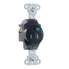 Hospital Grade Single Receptacles Tamper Resistant, Back & Side Wire, 15A, 125V, Black