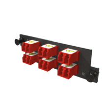 Infinium M4 HDFP Adapter Panel, 6 Keyed Front Non-Keyed Rear LC Duplex Adapters, 12 Fiber, Red