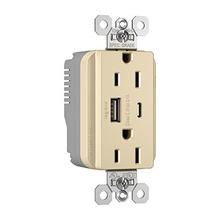 PlugTail® Commercial Specification Grade 15A USB Charging Receptacles, Ivory