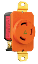 30 Amp NEMA L530 Single Receptacle, Orange, Isolated Ground