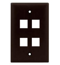 1-Gang, 4-Port Wall Plate, Brown