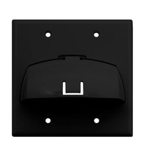 Double Gang Hinged Bullnose Wall Plate, Black