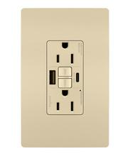 radiant® 15A Tamper-Resistant Self-Test GFCI USB Type-AC Outlet, Ivory