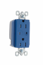 Tamper-Resistant Extra Heavy-Duty Surge Protective Duplex Receptacle, Blue