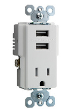 USB Charger with Tamper-Resistant Receptacle, White
