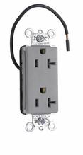 PlugTail® Decorator Split Circuit Spec Grade Receptacle, 20A, 125V, Gray
