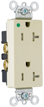 Tamper-Resistant Heavy-Duty Decorator Hospital Grade Receptacles, Back & Side Wire, 20A, 125V, Red