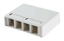 TRACJACK PLASTIC SURFACE MOUNT BOX FOR FOUR TRACJACKS SINGLE SIDED, WITH COVER, WHITE