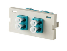 Series II Module, 2-LC Duplex (4 Fibers) Multimode, Aqua adapters, 180 degree exit