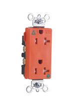 Tamper-Resistant Isolated Ground Decorator Hospital Grade Receptacle, Back & Side Wire, 20A, 125V, Orange
