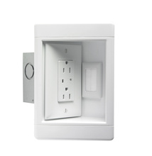 Single-Gang Recessed TV Box with Metal Electrical Box, White