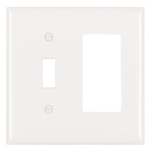 Combination Openings, 1 Toggle Switch & 1 Decorator, Two Gang, White