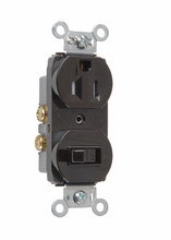 15A, 120/125V Combination Single-Pole Switch & Tamper-Resistant Single Receptacle, Brown