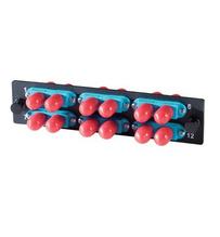6-ST (12 fibers) multimode aqua adapters with ceramic alignment sleeves