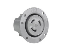 30 Amp NEMA L1130 Flanged Outlet, Gray