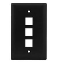 1-Gang, 3-Port Wall Plate, Black