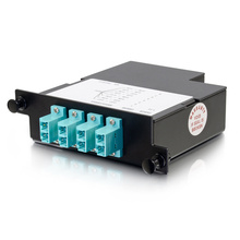 8-FIBER OM4 M4 CASSETTE WITH 8 LC DUPLEX ADAPTERS TO 1 MPO F- TIER 3- UNIVERSAL POLARITY - AQUA
