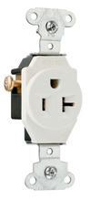 Heavy-Duty Spec Grade Single Receptacles, Side Wire, 20A, 125V, Light Almond