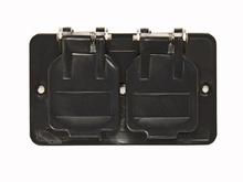 1-Gang Flip Lid Duplex Cover Plate, Black