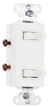 15A, 120/277V Decorator Combination Two, Non-Grounding/Single-Pole Switches, White