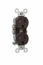 15A/125V TradeMaster® Self-Grounding, Tamper-Resistant Duplex Receptacle, Brown