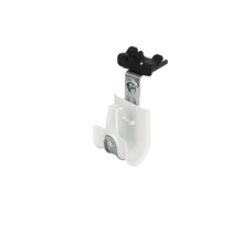 1'' White Plastic Coated J-Hook w/ Latch 90° Angle Clip & Knock-on Beam Clip 1/8-1/4'' Box of 25 [F000665]