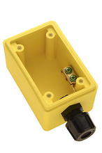 "Watertight Deep Yellow Back Box, 1/2"""" NPT Opening for Duplex Receptacles"