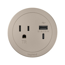 ROUND FPC, 1 OUTLET, USB, NICKEL COMBO USB-A AND USB-C
