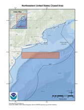 This is a map of Northeastern United States pelagic longline closed area in the South Atlantic Region.