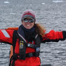 Marine mammal observer Vicki Beaver