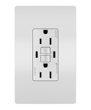 radiant® 15A Tamper-Resistant Self-Test GFCI USB Type-CC Outlet, White