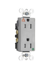 Tamper-Resistant Isolated Ground Decorator Hospital Grade Receptacle, Back & Side Wire, 15A, 125V, Gray