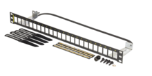 Shielded 24 port unloaded panel flat - use with TKS6A keystone jacks - 1RU - 1.75x 19