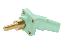 Series 16 45° 2'' Green Threaded Stud Panel Mount - Male