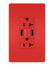 radiant® 20A Tamper-Resistant Self-Test GFCI USB Type-AA Outlet, Red