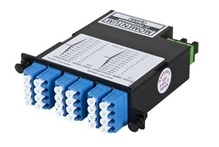 24-FIBER OS2 M4 CASSETTE WITH 24 LC QUAD ADAPTERS TO 2 MPO M- TIER 3