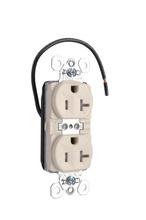 PlugTail® Tamper-Resistant Split Circuit Spec Grade Receptacle, 20A, 125V, Light Almond