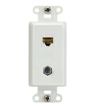 2-Port (1) F-Connector (1) RJ45 Cat 5e Wall Plate, White