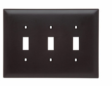 Toggle Switch Openings, Three Gang, Brown