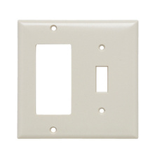 Combination Openings, 1 Toggle Switch & 1 Decorator, Two Gang, Light Almond